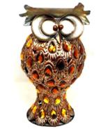 Vintage Metal Art Sculpture Owl with Amber Acrylic Gem Stones Embellishe... - $71.99