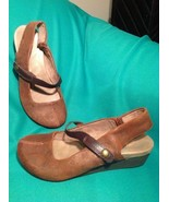 OTBT SPRINGFIELD 6.5M BROWN NUBUCK MARY JANE LEATHER WEDGE SLINGBACK SHO... - $57.21