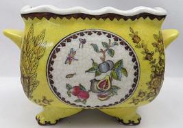 VTG Faux French Yellow Ceramic Pot Planter Handles Cracked Floral Fig Birds - €71,01 EUR