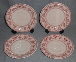 Set (4) Johnson Brothers PINK PETITE FLEUR PATTERN Saucers MADE IN ENGLAND - $14.84