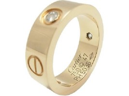 Cartier Half Diamond Love Ring 3P Diamond 750 YG Used Excellent conditio... - $1,953.92