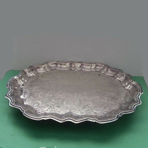 "Vintage F.B.Rogers Silver Co.1883 Silverplate Footed Serving Tray 14.5"" ... - $48.45"