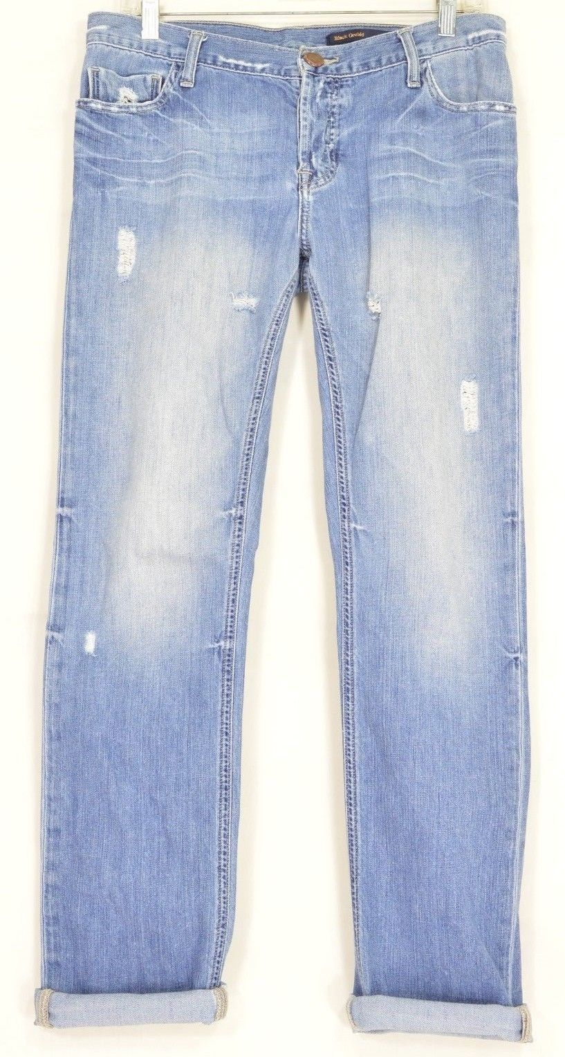 Black Orchid jeans 29 x 32 100% cotton USA boyfriend destroyed button fly