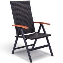 Patio Adjustable Aluminum Folding Back Rattan Recliner Chair - $85.73