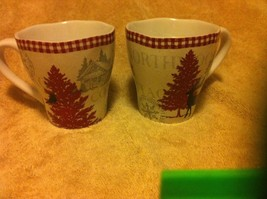 222 FIFTH-- NORTHWOOD COTTAGE--SET OF 2 COFFEE MUGS / CUPS----FREE SHIP-... - $24.28