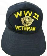 WWII Veteran World War Black Snapback Adult Cap Hat - $14.84