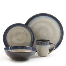 Gibson Couture Bands 16pc Dinnerware Set- Cream with Blue Rim - $99.19