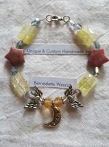 Angel star moon rhodonite quartz glass yellow pink handmade bracelet cle... - $5.00