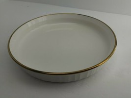 "Quiche Tart Casserole 22K Gold Band Corning Ware F-3-B French White 10.5"" (4D1) - $15.99"