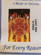 NIP Custom Decor Large House Flag Fire Department Rescue FS - $29.69