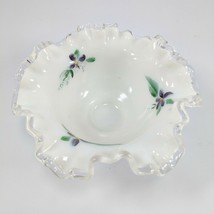 Fenton Silver Crest Bowl with Crimped Ruffled Rim Handpainted Floral Design - $14.01