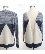 NEW size SMALL blue white color block marled geometric open cardigan swe... - $19.98