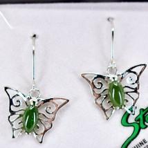 Storrs Genuine Jade Veritable Filigree Butterfly Hook Earrings image 2