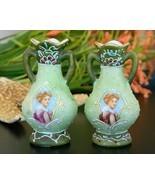 Pair Vintage Miniature Portrait Cabinet Vase Urn Japan Moriage Pottery - $37.13 CAD