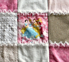 Pink Cinderella Snow White and Friends Sensory Blanket Minky Flannel Corduroy - $48.76