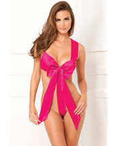 RENE ROFE PINK LUXURY UNWRAP ME ONE PIECE SATIN BOW TEDDY Size S/M-M/L - $18.99