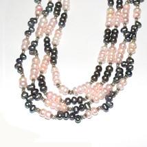 Pink & Gray Pearl Gemstone Handmade 925 Sterling Silver Multi-Strand Nec... - $504.46