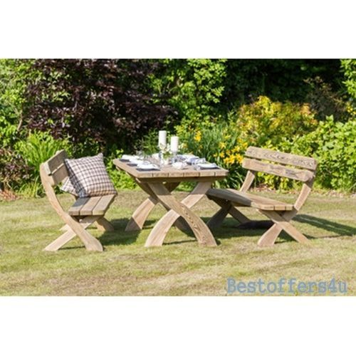Patio Wooden Dining Table and Bench Set 6 Seaters Garden Solid Luxury Furniture