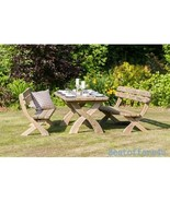 Patio Wooden Dining Table and Bench Set 6 Seaters Garden Solid Luxury Fu... - $865.01