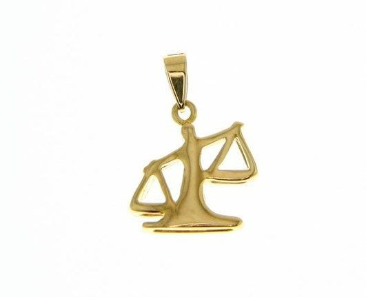 SOLID 18K YELLOW GOLD ZODIAC SIGN PENDANT, ZODIACAL CHARM, LIBRA MADE IN ITALY