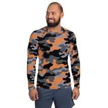Orange Camouflage BJJ MMA Rash Guards for Men Long Sleeve Military Camo ... - $59.85