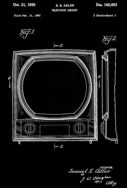 Primary image for 1950 - Television Cabinet - S. E. Adler - Patent Art Poster
