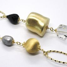 Necklace Silver 925, Yellow, Onyx, Pearls Grey, Ovals Twisted, 37 3/8in image 3