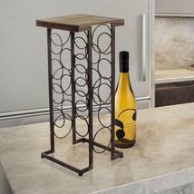 Adeco Walnut-Color Wood & Iron Tall Rectangular Wine Rack End Table - Ho... - $89.99