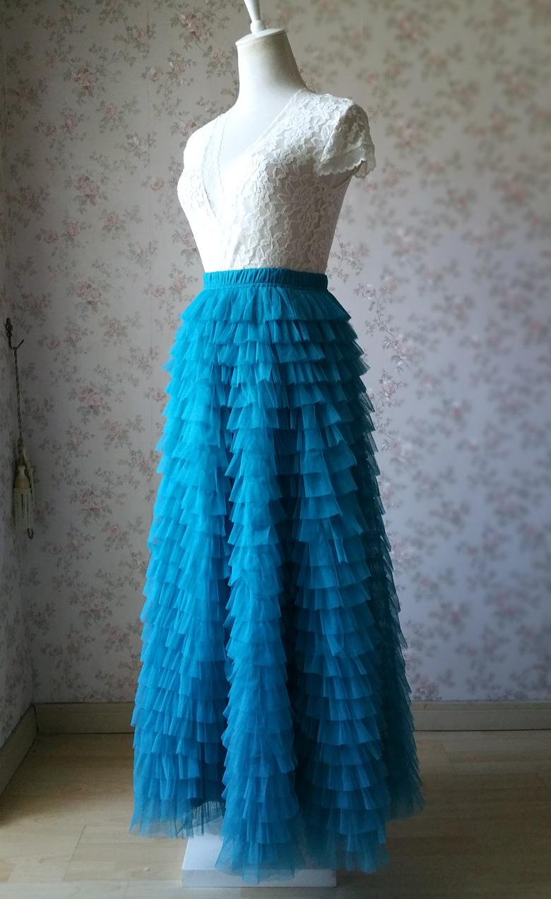 Blue 24 floor length tulle skirt 780 1