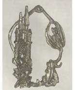Fantasy Gothic Pewter Christmas Ornament Wizard Castle Dragon - $8.86