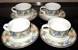 Mikasa Intaglio Garden Harvest 8 Piece Coffee Cup & Saucer Set CAC29 - $44.54
