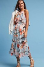 Nwt Anthropologie Poppy Halter Printed Midi Dress By Donna Morgan 14 - $98.93
