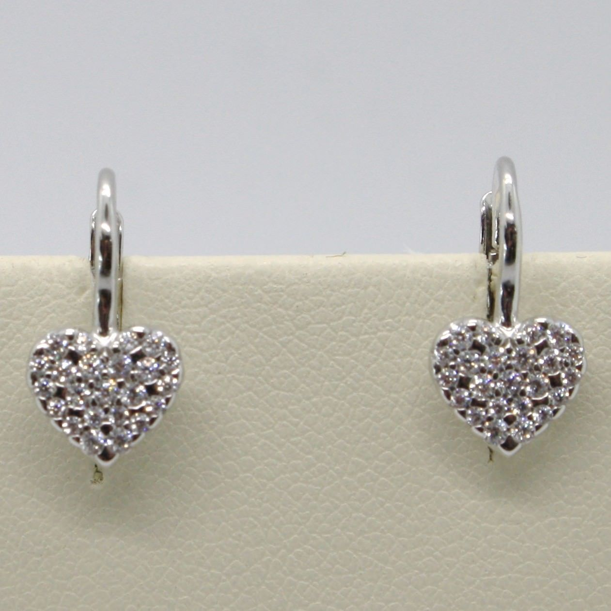 18K WHITE GOLD LEVERBACK EARRINGS, HEART WITH ZIRCONIA, LENGTH 15 MM, ITALY MADE