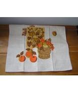 Vintage Linen Kitchen Towel w Orange & Gold Fall Harvest Pumpkins Fruit ... - $8.59