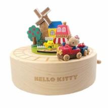 Hello Kitty Wood Music Box Miniature Village Bakery Shop Train Apple Tree - $188.50