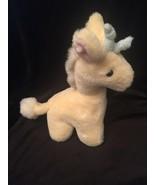 Eden Off White Giraffe Rattle Stuffed Baby Plush Pink Ear Blue Horns Vin... - $127.71