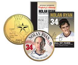 NOLAN RYAN * Hall of Fame * Legends Colorized Texas Quarter 24K Gold Pla... - $8.86