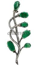 Vintage Reproduction Handmade 2.90Ct Rose Cut Diamond 925 Silver Brooch/... - $271.40