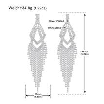 Statement Rhinestone Big Long Tassel Drop Earrings - Silver Color Double Layer F - $14.99