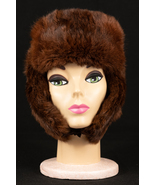Vintage Mahogany Brown Soviet Russian Mink Trapper Helmet Hat with Earflaps - $79.99