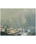 8926.Painting of foggy pier.boats.buildings in bkgd.POSTER.decor Home Of... - $10.89+