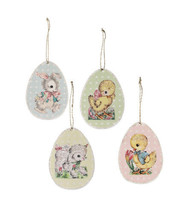 Bethany Lowe Vintage Retro Easter Egg Ornament 4pc Bunny Chick Lamb Deco... - $19.95