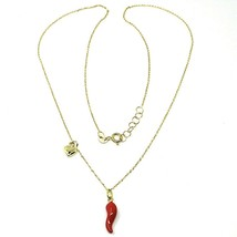 "18K YELLOW GOLD NECKLACE WITH RED ENAMEL MINI HORN & HEART PENDANT, 16.5"" CHAIN image 2"