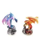 Lot of 2 Mini Dragon Figurine Metallic Miniature Fantasy Gift Decor PDX-... - $9.65