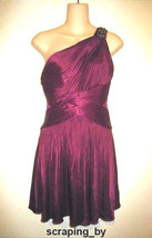 BCBG Cranberry Burgundy Red One Shoulder Pleated Beaded Jewel Party Dress - $49.50