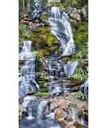 Waterfall Panel by Timeless Treasures-Rocks-Moss-Trees-Mountain-Water - $10.95