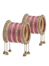 Excuisite ethnic bangle set with dangling jhumk... - $67.00
