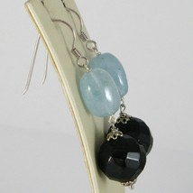 Silver Earrings 925 Rhodium Hanging with Onyx Black and Aquamarine Blue image 2