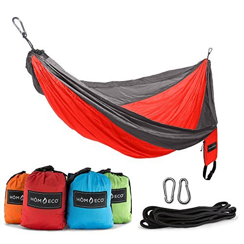 HŌMECO Double and Single Camping Hammock, Lightweight Nylon Parachute Travel Ham