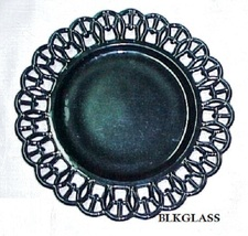 "Ebony Black  Amethyst Glass  9""  Border Plate Wicket Border Design Vintage - $25.98"
